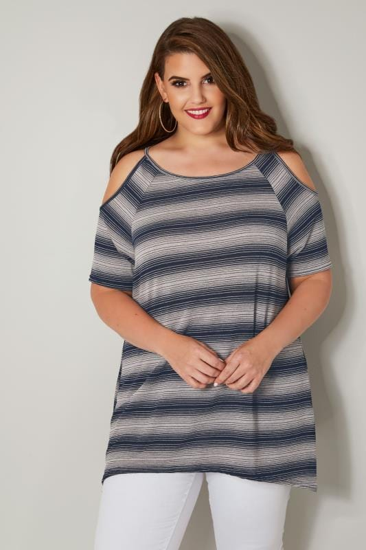 Navy Striped Cold Shoulder Top