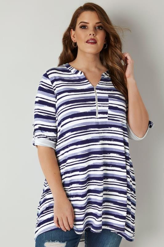Navy Striped Jersey Shirt With Zip Front