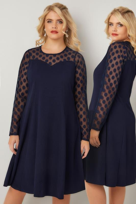 YOURS LONDON Navy Swing Dress With Polka Dot Mesh Sleeves
