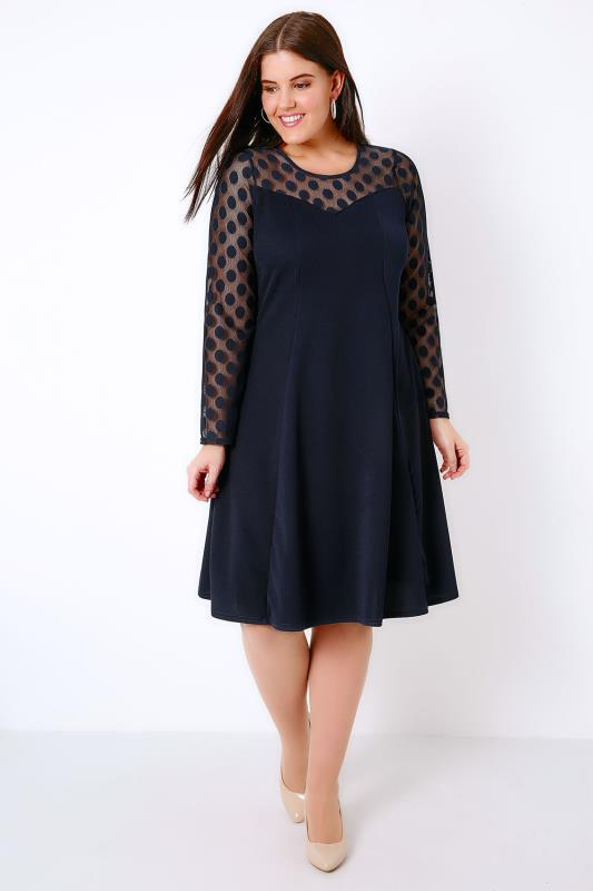 Navy Swing Dress With Polka Dot Mesh Sleeves