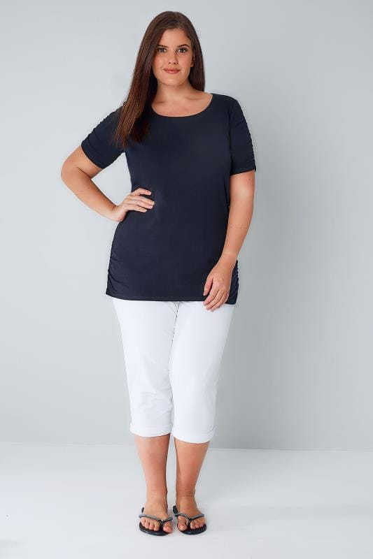 Navy T-Shirt With Ruched Short Sleeves
