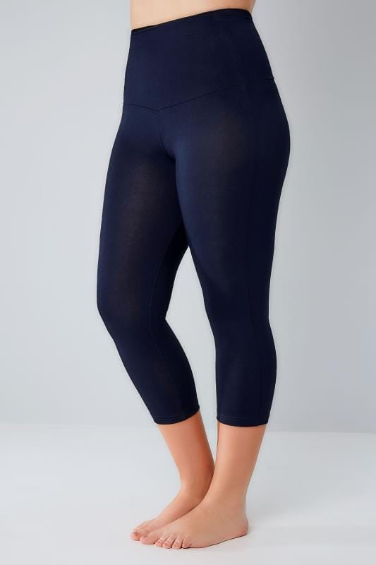 Navy TUMMY CONTROL Viscose Elastane Cropped Leggings