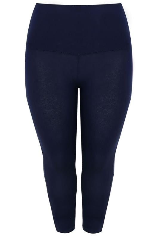 Navy Tummy Control Soft Touch Cropped Leggings Plus Size -4657