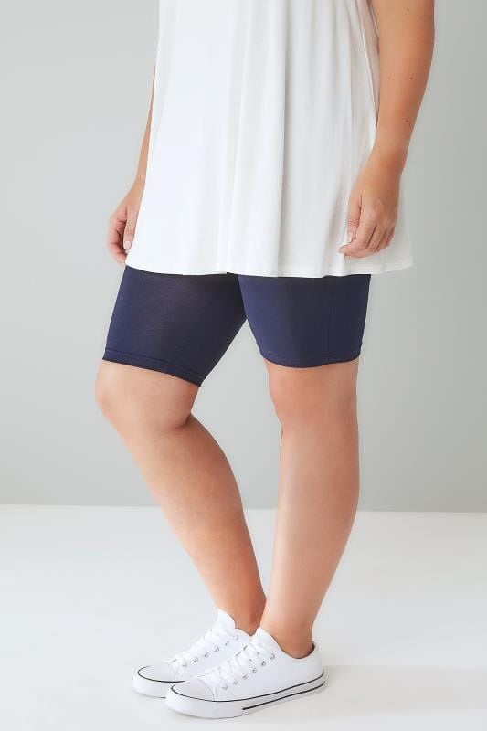 navy tummy control viscose elastane legging shorts plus