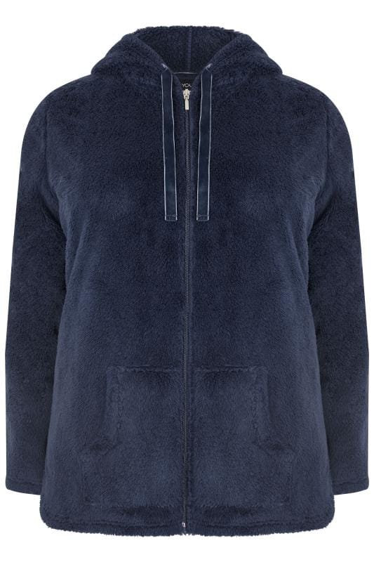 Navy Zip Through Teddy Fleece