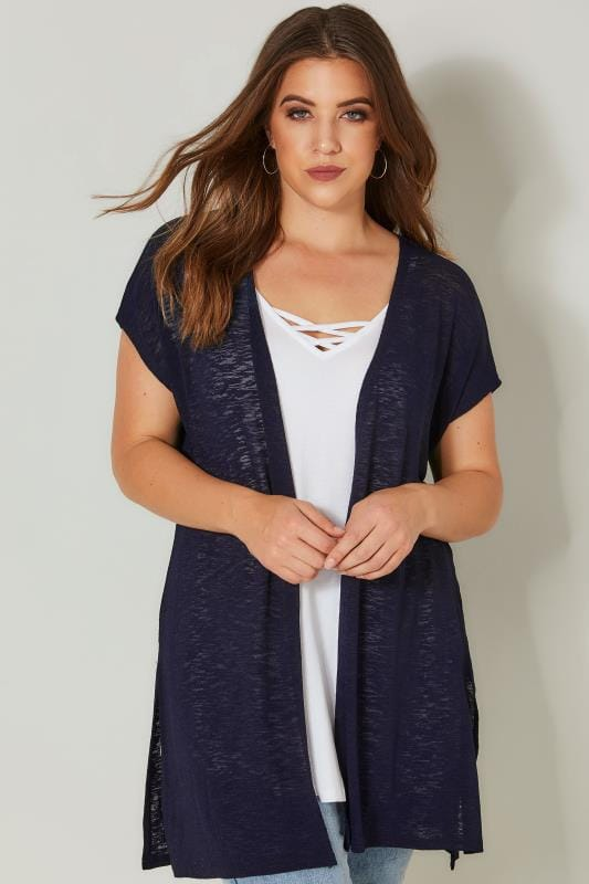 Plus Size Cardigans Navy Textured Cardigan With Grown-On Short Sleeves