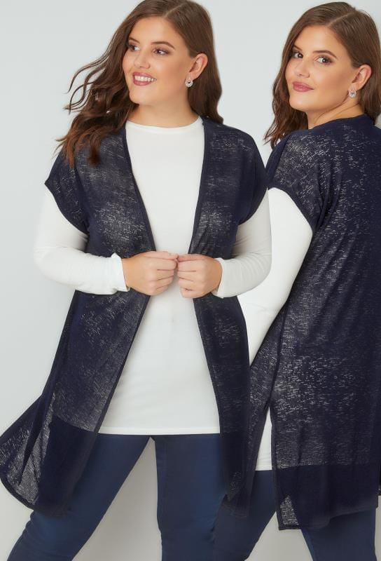 Navy Textured Cardigan With Grown-On Short Sleeves