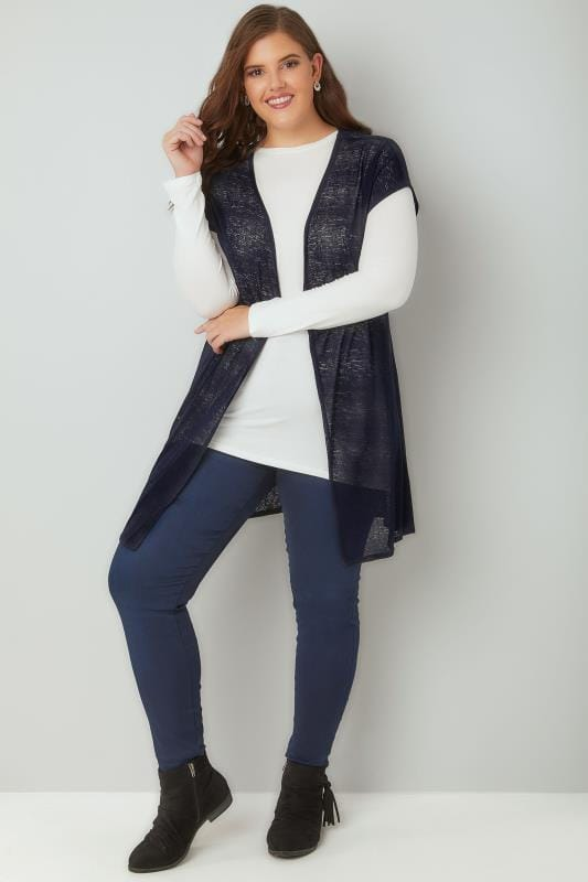 Navy Textured Cardigan With Grown-On Short Sleeves, Plus ...
