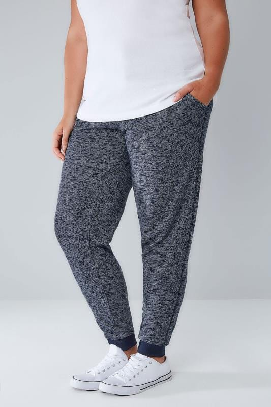 Plus Size Joggers Navy Textured Joggers With Contrast Waistband & Cuffs