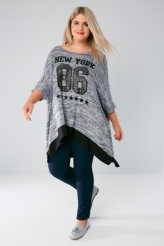 Navy Textured Oversized Batwing Top With Caviar Beaded Varsity Print
