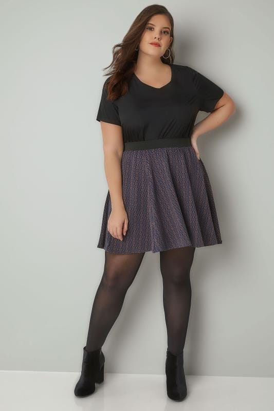 Navy Textured Skater Skirt With Elasticated Waistband