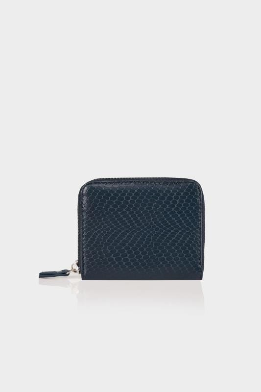 Navy Textured Snakeskin Effect Small Zip Around Purse
