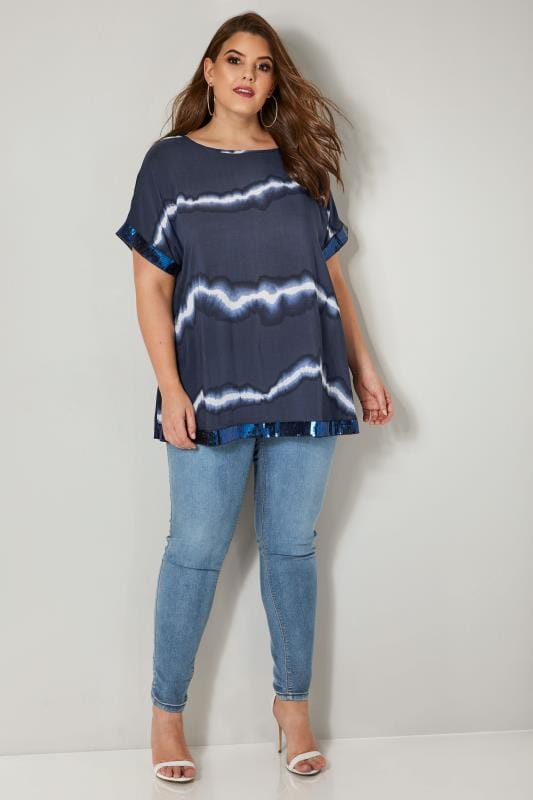 Navy Tie Dye Chiffon Cape Top With Sequin Trim