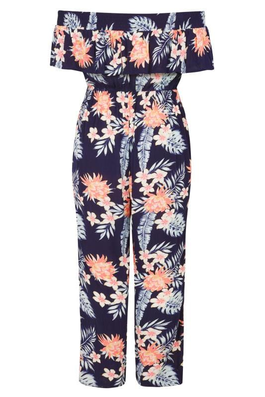 Navy Tropical Bardot Jumpsuit  Plus Sizes 16 To 36 -8553