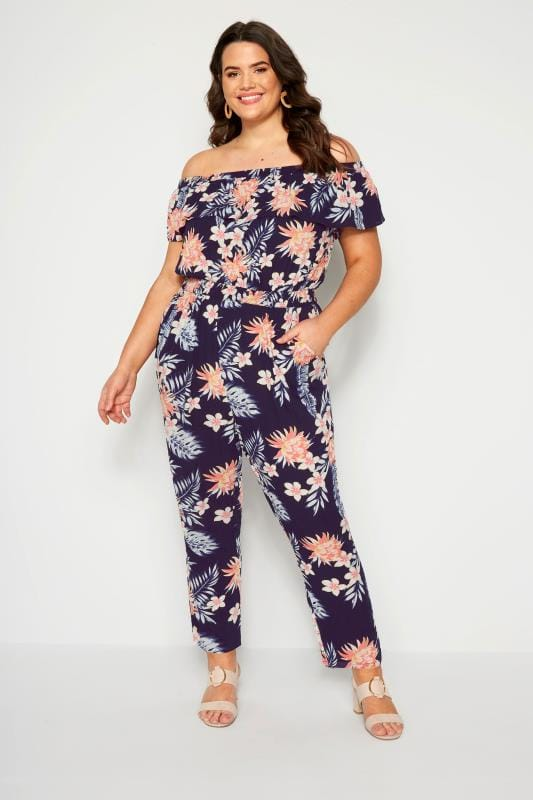 Navy Tropical Bardot Jumpsuit