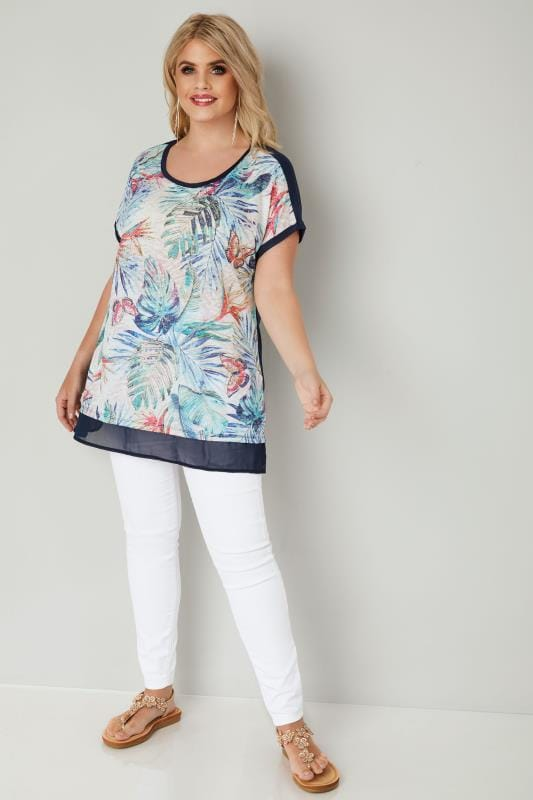 Navy Tropical Floral Print Top With Chiffon Hem