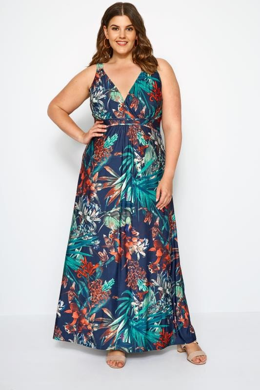 b81d11941dd3 Plus Size Maxi Dresses Navy Tropical Print Maxi Dress