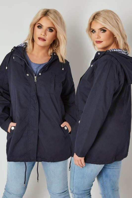 Plus Size Parka Coats Navy Twill Hooded Parka Jacket With Checked Lining