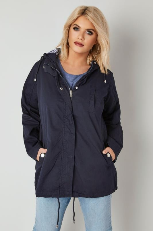 Navy Twill Hooded Parka Jacket With Check Lining
