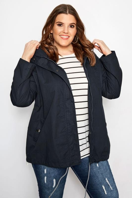 82adc0ad0a Plus Size Coats Navy Twill Parka Coat