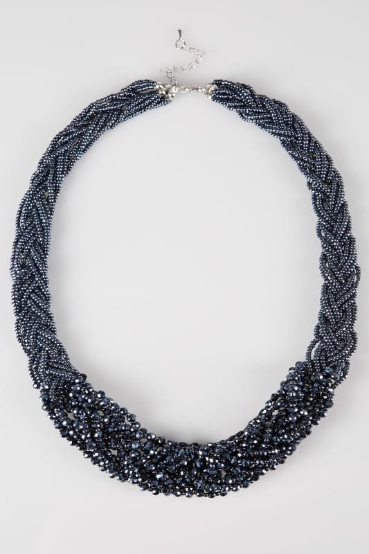 Navy Twisted Bead Necklace