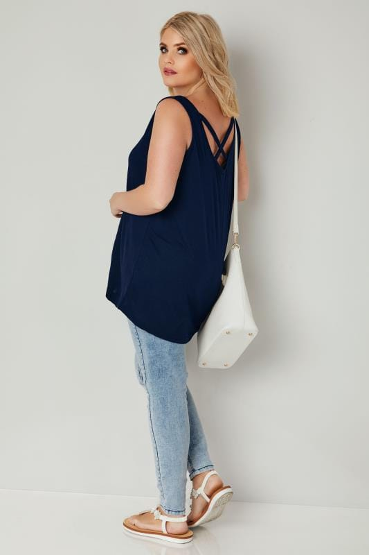 Navy V-Neck Vest Top With Cross Over Back Detail