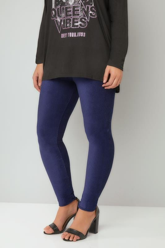 Plus Size Fashion Leggings Navy Velour Ribbed Leggings