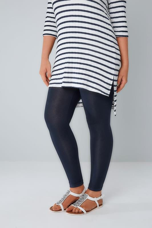 Plus Size Basic Leggings Navy Viscose Elastane Leggings