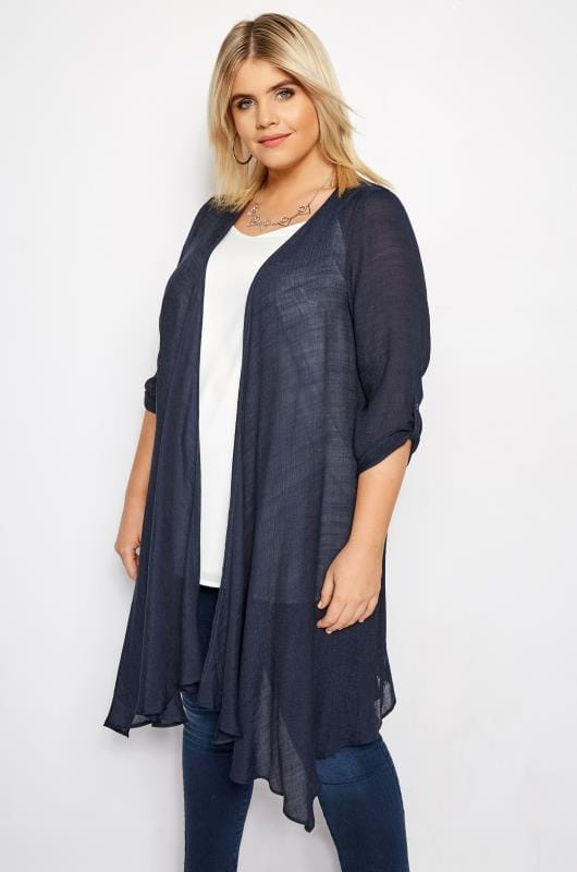 Plus Size Kimonos Navy Waterfall Cover Up