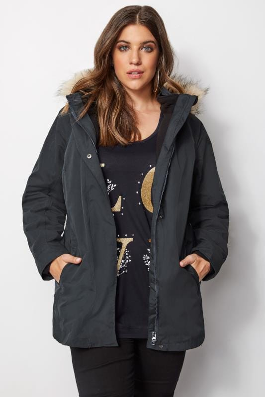 Plus Size Coats Navy Waterproof 3 In 1 Coat