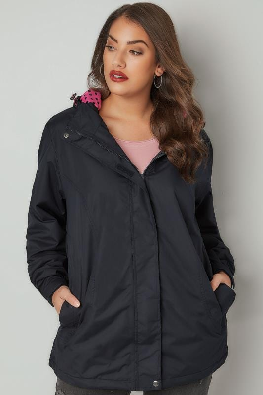 Navy Waterproof Mid Length Jacket With Polka Dot Hood