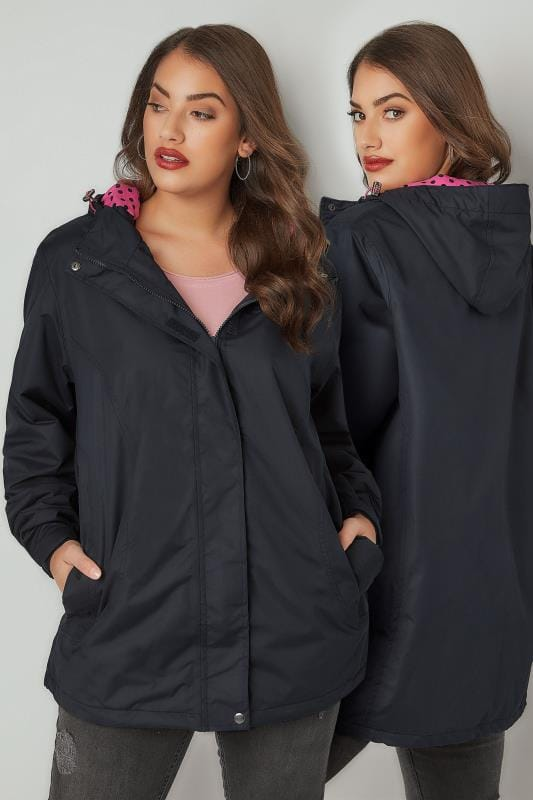 Plus Size Rain Coats Navy Waterproof Mid Length Jacket With Polka Dot Hood