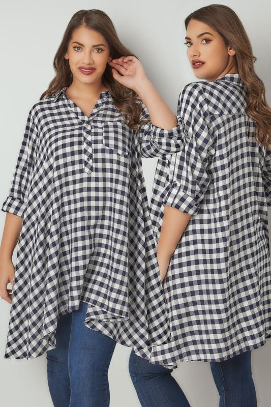 Navy & White Asymmetric Checked Shirt With Metallic Thread