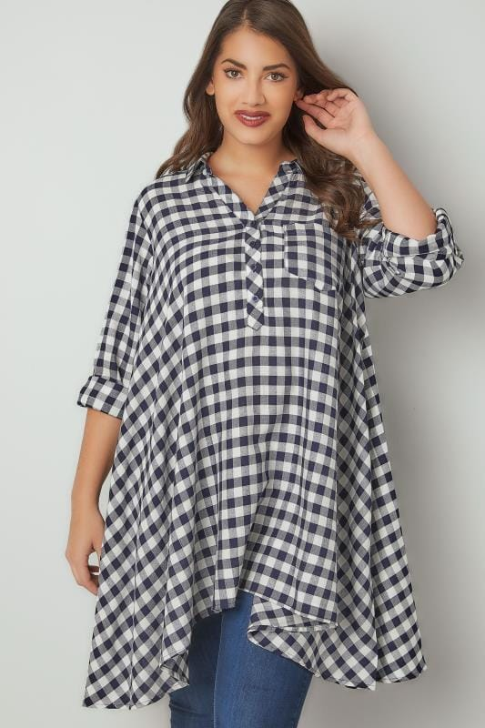 Plus Size Blouses & Shirts Navy & White Asymmetric Check Shirt With Metallic Thread