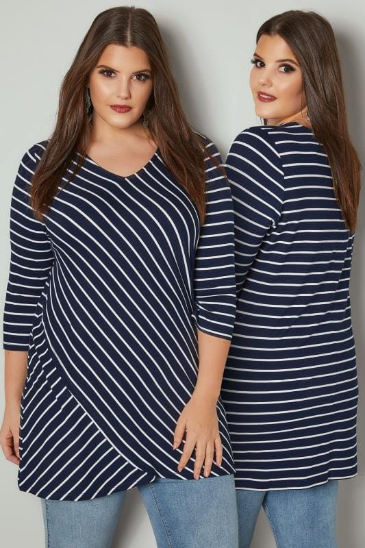 Plus Size Jersey Tops Navy & White Asymmetric Striped Top