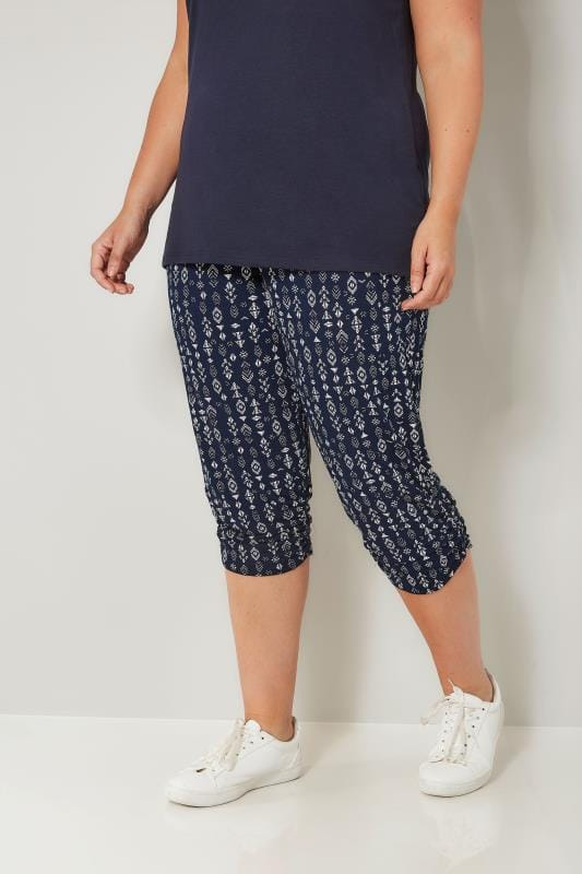 Plus Size Cropped Trousers Navy & White Aztec Cropped Harem Trousers