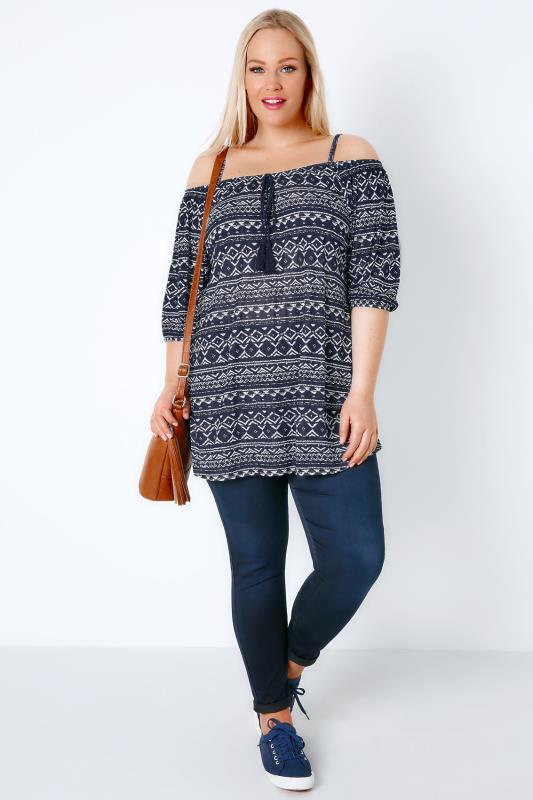 Navy & White Aztec Cold Shoulder Jersey Top With Tassel Tie Front