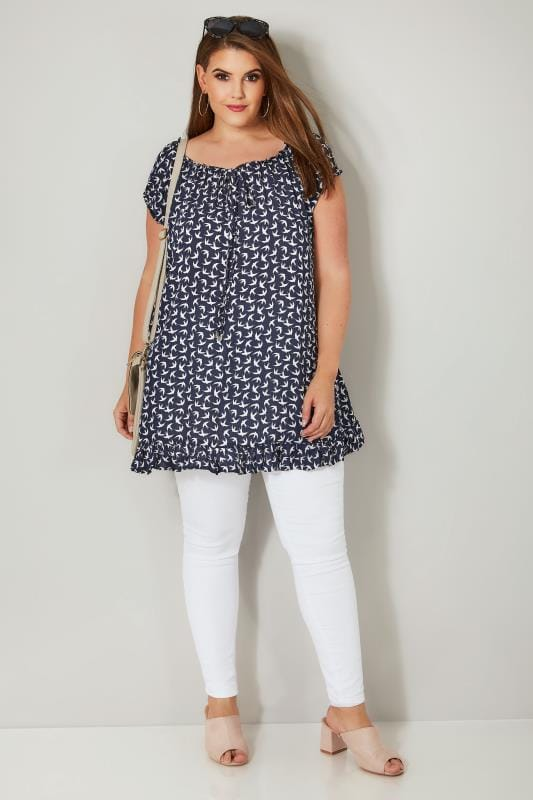 Navy & White Bird Print Gypsy Top