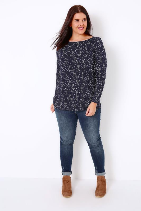 Navy & White Boat Neck Top With Bird Print & Long Sleeves