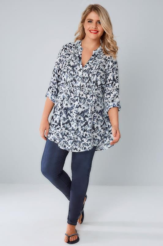 Navy & White Butterfly Pintuck Longline Blouse With Sequin Detail