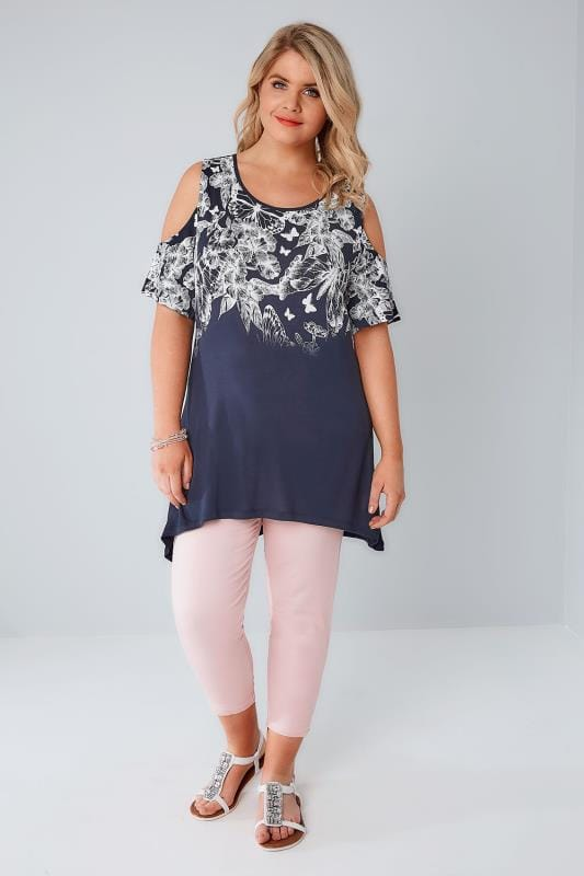 Navy & White Cold Shoulder Butterfly & Floral Printed Top