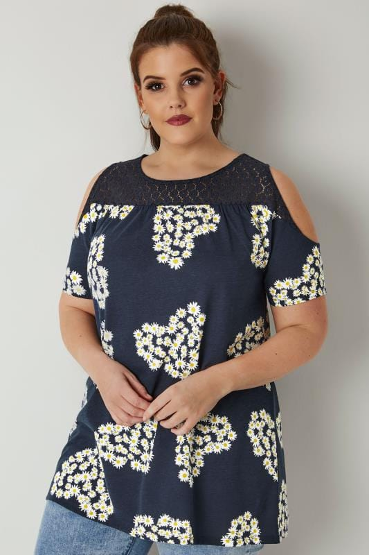 Navy & White Daisy Print Cold Shoulder Top With Lace Yoke