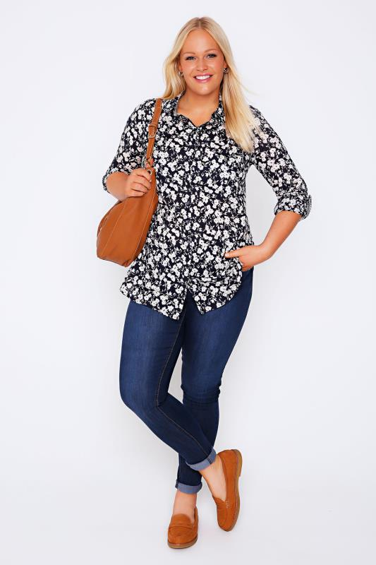 Navy & White Floral Print Cotton Dobby Shirt