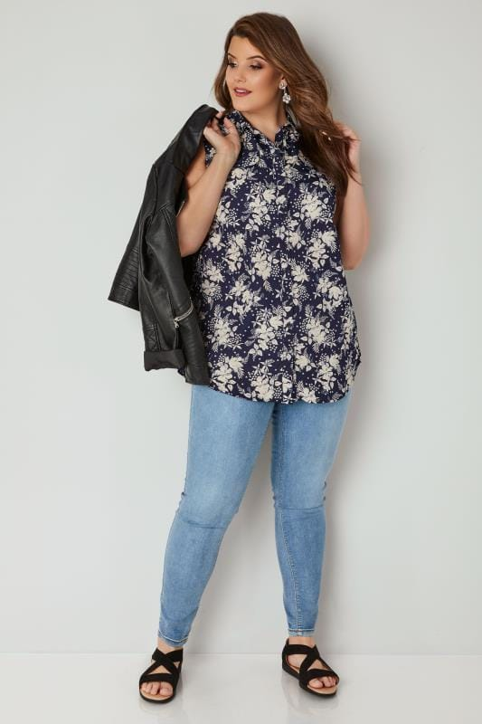 Navy & White Floral Print Sleeveless Shirt