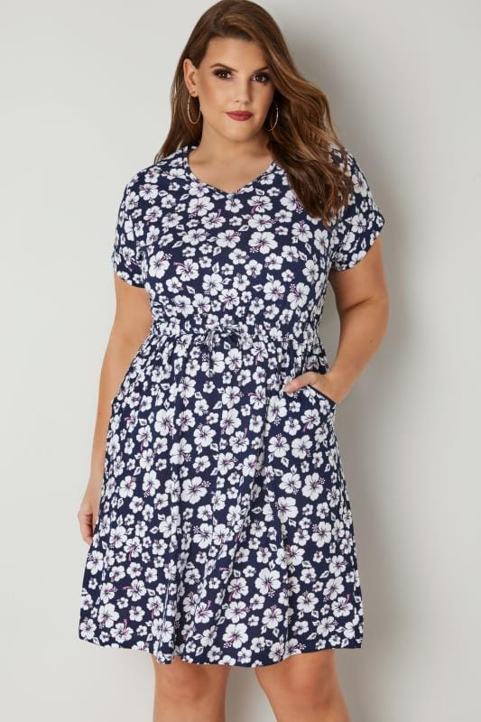 Plus Size Skater Dresses Navy & White Floral Print T-Shirt Dress With Pockets & Elasticated Waistband