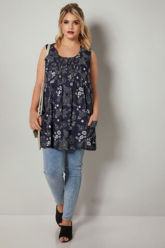 Navy & White Floral Tunic With Front Pockets