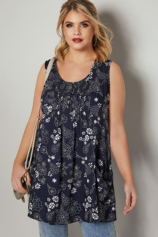 Plus Size Longline Tops Navy & White Floral Tunic With Front Pockets