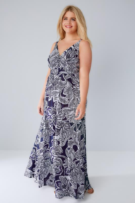 Navy & White Floral Wrap V-Neck Tiered Maxi Dress With Sequin Detail