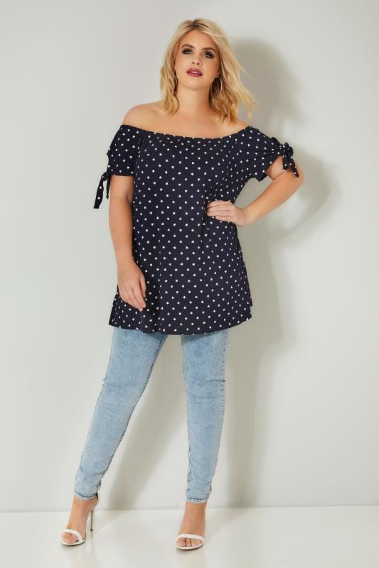 Navy & White Heart Print Bardot Top With Tie Sleeves