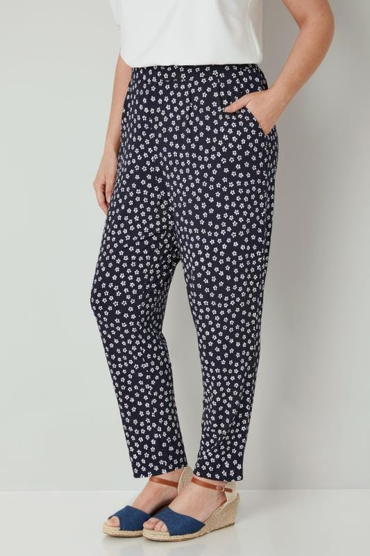 Plus Size Harem Trousers Navy & White Mini Floral Print Jersey Harem Trousers
